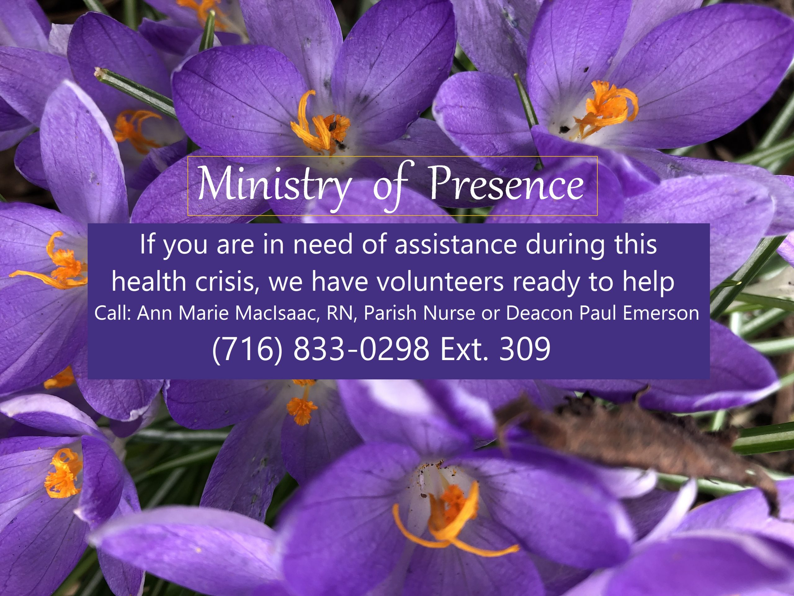 Ministry of presence update april 2020